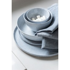 Plate Shiny Ceramic Blue Large