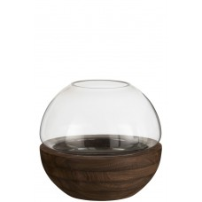 Vase Wood & Glass - M