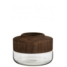 Vase Wood & Glass - S