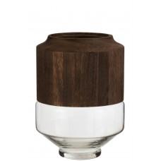Vase Wood & Glass - L