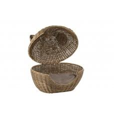 Cat Basket Rattan Dark